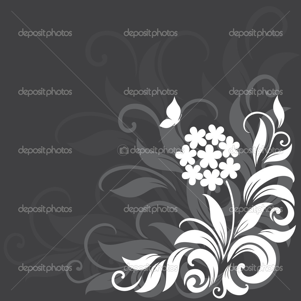 Decorative floral background with grass, flowers and butterfly — Stock Vector #10903937