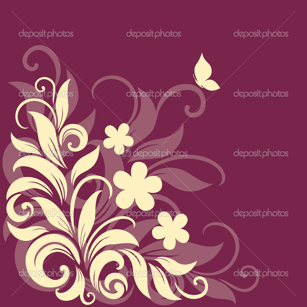 Decorative floral background with grass, flowers and butterfly — Stock Vector #10903947