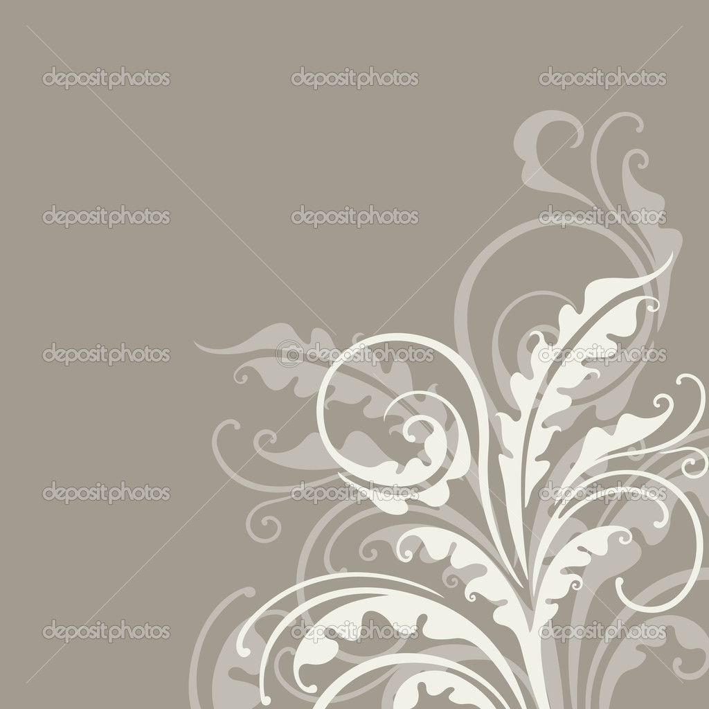Elegant decorative floral illustration on the grey background — Stock Vector #10903960