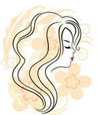 Beautiful girl's face on the flower background — Stock Vector