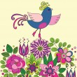 Decorative colorful funny bird on the flowers — Stock Vector