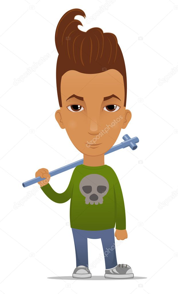 Cartoon hooligan with a pipe — Stock Vector #11533237