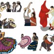 Stock Vector: Folk dancing