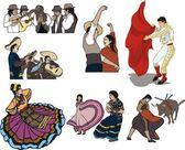 Folk dancing — Stock Vector