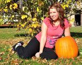Beautiful girl with Pumpkin — Stock Photo