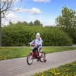 Little happy girl riding her bike — Stock Photo