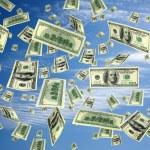 Hundred dollar bills flying in the air — Stock Photo