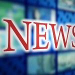 News inscription in studio tv — Stock Photo