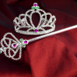 Crown and wand princess accessories — Stock Photo