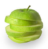 Zelené jablko řezy abstraktní — Stock fotografie