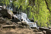 Waterfall in the park in Warsaw — Stock Photo