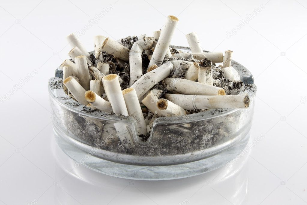 	ashtray and cigarettes on white background  Stock Photo #11122224