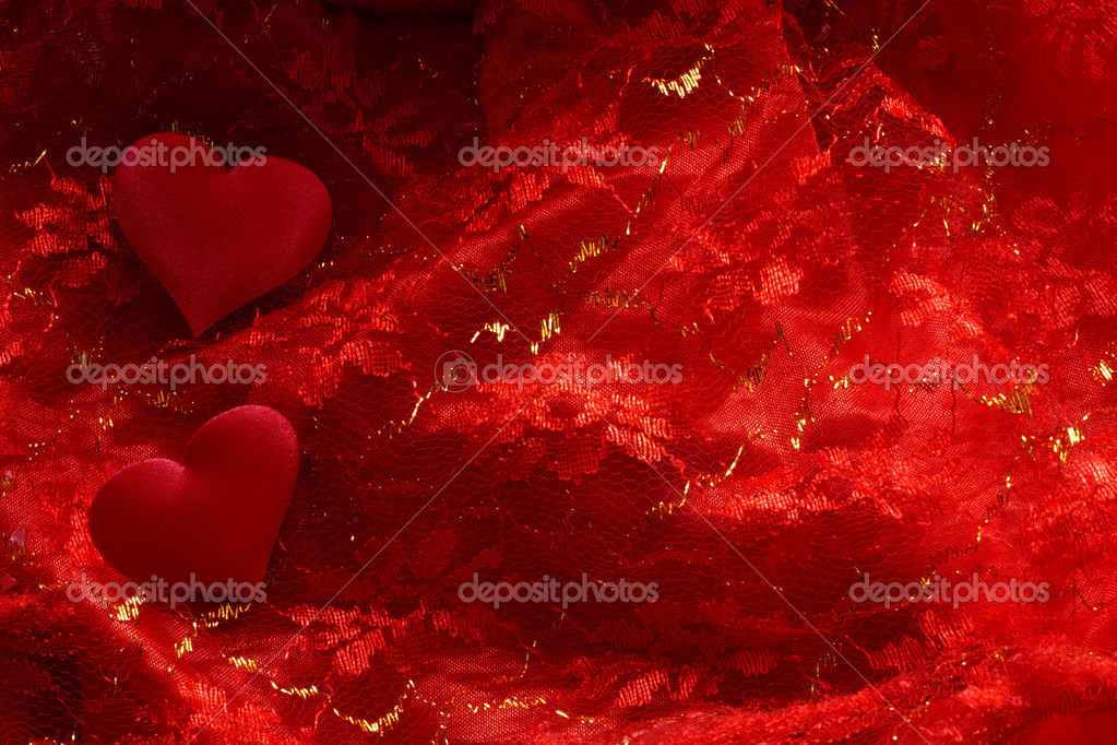 	hearts on red satin background  Stock Photo #11123405