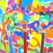 Stock Photo: Sharpened pencils on colorful background