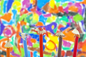 Sharpened pencils on colorful background — Stock Photo