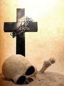 Cross skull and bones doomsday revelation concept — Stock Photo
