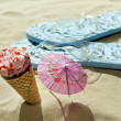Ice ceram on beach holiday vacation hot days concept — Stock Photo