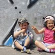 Children listen to music concept — Stock Photo