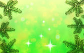 Christmas tree frame border on the green background — Stock Photo