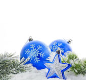 Christmas decoration with baubles star and snowflakes — Stock Photo