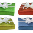 Boxes gifts presents set isolated — Stock Photo