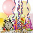 New year party with clock balloons champagne and clock — Stock Photo #11530210
