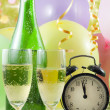 New year party with champagne clock and balloons — Stock Photo #11530224