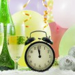 New year party with champagne clock and balloons — Stock Photo #11530229
