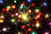 Happy new year background with fireworks — Stock Photo