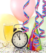 New year party with clock balloons champagne and clock — Stock Photo