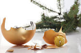 Concept of the end of christmas with broken bauble — Stock Photo