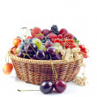 Assortment of fresh berries and fruits background — Stock Photo