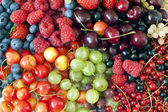 Assortment of fresh berries and fruit background — Stock Photo