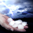 Hail in hands weather anomaly — Stock Photo