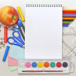 School education background with blank exercise book — Stock Photo #11671212