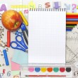 School education background with blank exercise book — Stock Photo
