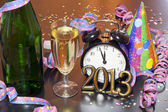 2013 happy new year party with clock and champagne — Stock Photo