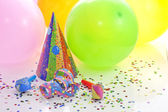 Colorful party birthday new year background with balloons — Stock Photo