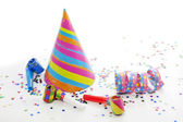 Party birthday new year items on white background — Stock Photo