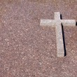 Old cement grunge cross on grave — Foto Stock #11939617