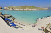 Umbrellas in Comino — Stock Photo