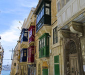 Balconies in Valletta — Stock Photo