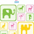 Zoo logo. logos and icons with animals. — Stock Vector