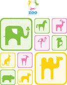 动物园的徽标。徽标和图标与动物. — 图库矢量图片