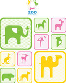 Zoo logo. logos and icons with animals. — Stok Vektör