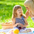Happy mother and little daughter at a picnic — Stock Photo #11342342