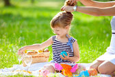 Little cute girl playing at a picnic — Stock Photo