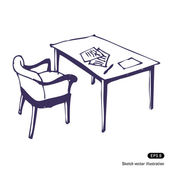 Desk and chair. Isolated — Stock Vector