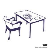 Bureau et chaise. isolé — Vecteur