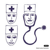Doctors. Three icon faces — Vector de stock